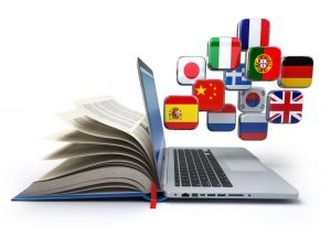64134005 - e-learning or online translator concept. learning languages online. laptop, book and flags. 3d illustration